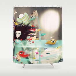 Light and Transparency illustration The Moon Shower Curtain