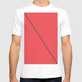 Modern Minimalistic Black Stripe on Coral Red T-shirt