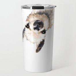 Sneaky Llama White Travel Mug
