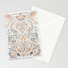 Rose Gold Folklore Pattern Stationery Cards
