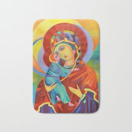 Virgin Mary Painting Madonna and Child Jesus icon Modern Catholic Religious Bath Mat