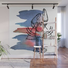 Lobster in Red and Blue Wall Mural
