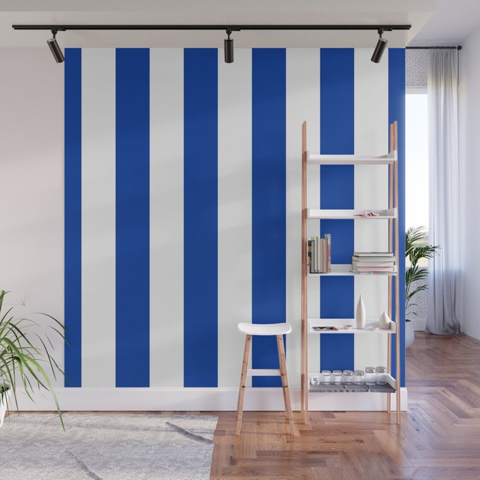 Dark Princess Blue And White Wide Vertical Cabana Tent Stripe Wall Mural