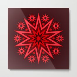 Fiery Red Flashing Fireworks Mandela Stars Metal Print