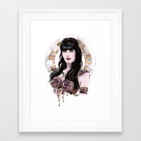 xena Framed Art Prints featuring Xena Warrior Princess art by carlations: Carla Wyzgala illustrations