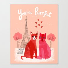 You're Purrfect - Two Cats in Paris Valentines Design featuring pink cats Canvas Print