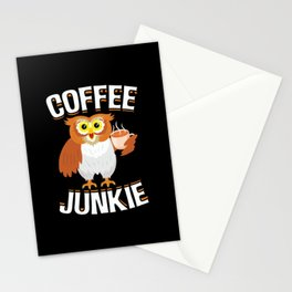 Coffee Junkie Owl Caffeine Coffee Lover Stationery Cards