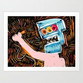 Light my Fire Graffiti Man with 3 Eyes by Emmanuel Signorino Art Print