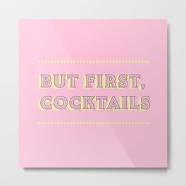 Pastel Pink Party Cocktails Metal Print