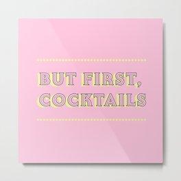 Pastel Pink Party Cocktails Metal Print