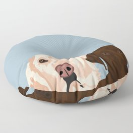 2 Labradors Floor Pillow