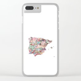 Spain map flowers composition Clear iPhone Case