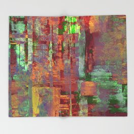 Overexposed - Abstract, textured painting in brown, orange and green Throw Blanket