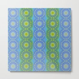 Blue and Green radial patterns Metal Print