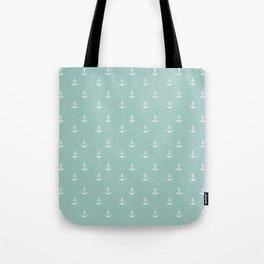 Maine Blue Anchor Print Tote Bag