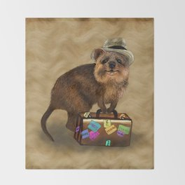 Traveller // quokka Throw Blanket