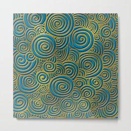 Elegant Golden Doodle Swirl on Blue Leather Metal Print