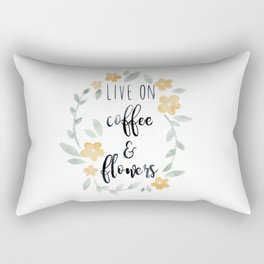 Live On Coffee and Flowers Rectangular Pillow