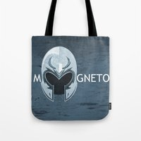 magneto Tote Bags featuring Magneto by Tony Vazquez