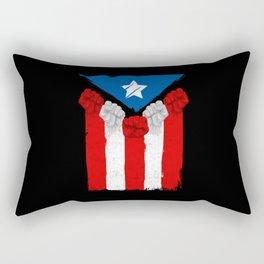Raised Fists For Puerto Rico - Boricua Flag Rectangular Pillow