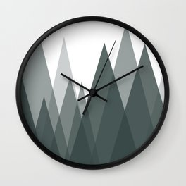 Green Mountains Abstract Landscape Wall Clock