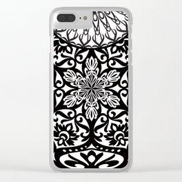 Hamsa Mandala Black and White Clear iPhone Case
