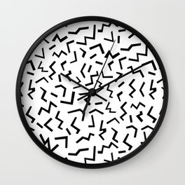 Maxie - black and white minimal modern abstract squiggle stripe dot lines geometric pattern urban  Wall Clock