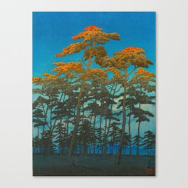 Vintage Japanese Woodblock Print Art Print Tall Sunset Trees Silhouette Twilight Forest East Asian Canvas Print