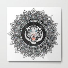 Roaring White Tiger Mandala Metal Print