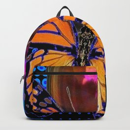 ORANGE MONARCH BUTTERFLY & SOAP BUBBLE IN BLUE OPTICAL ART Backpack