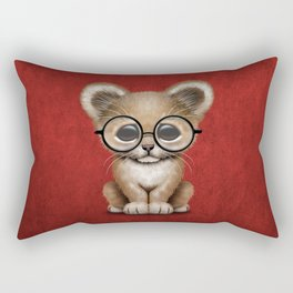 Cute Baby Lion Cub Wearing Glasses on Red Rectangular Pillow