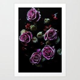 Dark Floral Pink Roses 2 Art Print