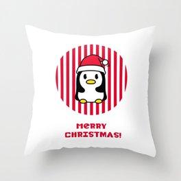 Merry Christmas Penguin Throw Pillow