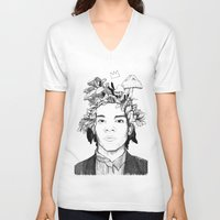 basquiat V-neck T-shirts featuring Basquiat by offthefaceoftheearth