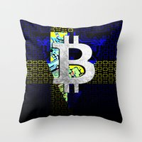 sweden Throw Pillows featuring bitcoin sweden by seb mcnulty