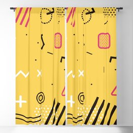 New York 1989 - Yellow Memphis Throwback Retro 1990s 80s Trendy Hipster Pattern Eighties Blackout Curtain