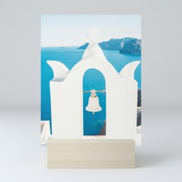 White Church Bell in Santorin, Greece - Blue Sea at the Greek Island Mini Art Print