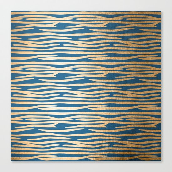 Zebra - Orange Sherbet Shimmer on Saltwater Taffy Teal Canvas Print
