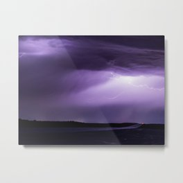 Summer Lightning Storm On The Prairie XI - Nature Landscape Metal Print