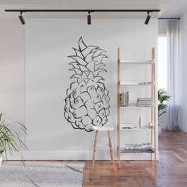 black and white pineapple Wall Mural