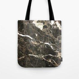 Dark Brown Marble With White Veins Tote Bag