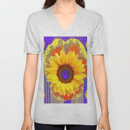 Yellow Sunflowers & Lilac Purple Patterns Unisex V-Neck