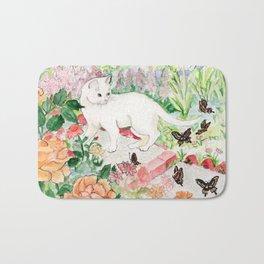 White Cat in a Garden Bath Mat