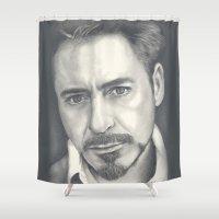 robert farkas Shower Curtains featuring Robert Downey Jr by Heather Andrewski