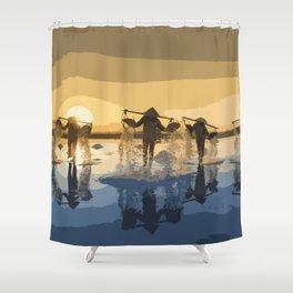Salt Harvest in Abstract Art Shower Curtain
