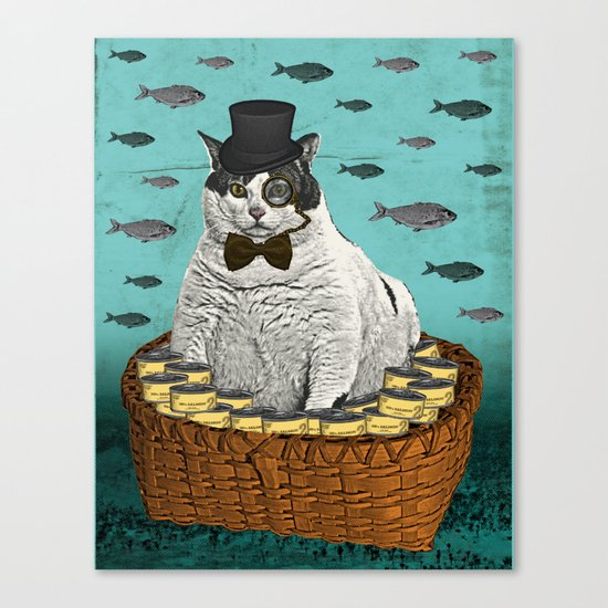 Fat Cat Print Canvas Print