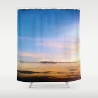 spanish Shower Curtains featuring Spanish Skies by Chloe Gibb