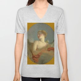 """Jean-Honoré Fragonard """"'L'Amour': said to be a Portrait of Marie Catherine Colombe as Cupid"""" Unisex V-Neck"""