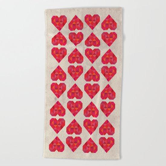 Heart geometry Beach Towel