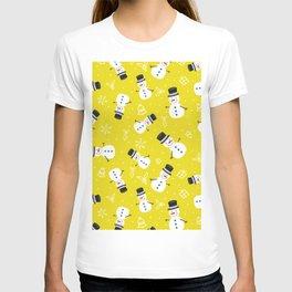 Snowmen on Golden Yellow Christmas Pattern Digital Graphic Design T-shirt